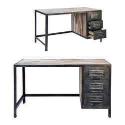 Spike Industrial 3 Drawer Desk - Reclaimed for a new generation. These eco-friendly pieces are all made from recycled wood that has been reclaimed from old buildings and ships. While the styling of each item remains the same, the old wood gives every piece its own unique characteristics.