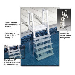Blue Wave - Blue Wave Hvy Duty In Pool Resin Ladder - Deluxe Heavy Duty In-Pool Ladder 5 Tread Design For Easy Entry. Adjustable For 48 To 54; Deep Pool; Long-Lasting Resin Won't Rust Or Corrode; Recommended 300 Lb Capacity; 3-Year Warranty; Same Quality As Confer In-Pool Ladder 6000B