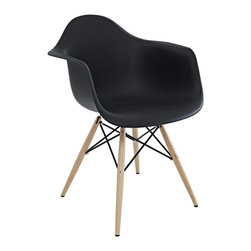 Poly+Bark - Eames Style Molded Plastic Dowel-Leg Armchair (DAW) Set of 2, Black - Set of 2 Chairs