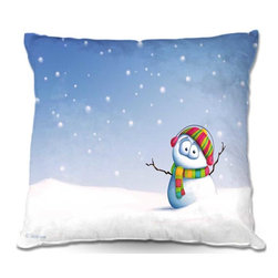 DiaNoche Designs - Pillow Woven Poplin - Toosh Toosh Snowman - Toss this decorative pillow on any bed, sofa or chair, and add personality to your chic and stylish decor. Lay your head against your new art and relax! Made of woven Poly-Poplin.  Includes a cushy supportive pillow insert, zipped inside. Dye Sublimation printing adheres the ink to the material for long life and durability. Double Sided Print, Machine Washable, Product may vary slightly from image.