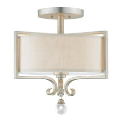 Savoy House Lighting - Savoy House 6-258-2-307 Rosendal 2 Light Semi-Flush Mount, Silver Sparkle - Contemporary collection shines in a brilliant Silver Sparkle finish, accentuated by a large crystal drop and fabric shades that glisten in iridescent champagne.