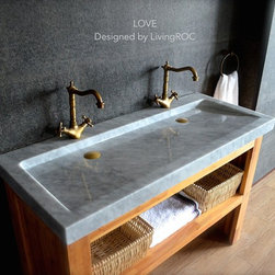 Living'ROC - 47'' Double Trough Carrara white Marble Bathroom Sink - LOVE - Natural stone double vessel sink (trough) LOVE - 47'x19'x2' - genuine interior deco very popular Carrara white marble. The 'Exceptional' cut in the block without any comparison with plastic and other chemical resin market often unaffordable. You will definitely not let anyone feel indifferent with this 100% natural stone unique in the US and exclusively available on Living'ROC.net.  Feel free to click on our facebook portfolio page to inspire yourself with our clients' projects...Simply our living'ROC style. Discover the well-being provided by this beautiful piece LOVE  sleek lines and Zen-style give an elegant and chic look to your bathroom. Cut from a worldwide well known white marble block you will enjoy its generous size 47-1/4' (120cm).This trough bathroom sink is from the AQUADEOS range created only from selected natural stone. Inspired by the model FOLE'GE (better adapted to larger spaces) LOVE  will beautify a smaller space and will provide a modern serene and trendy atmosphere in your bathroom. Polished finishes and its very convenient slope will add practicality to beauty.Our creation is delivered without an overflow drain and faucet (not included) - every US drains and faucets models you can find on the market will fit perfectly on Living'ROC vessel sink. This model is ready to use over the countertop.  The photos you see online have been taken with extreme care by our Founder CEO - Florent LEPVREAU because without them we would not be one of the natural stone business key player of the online European continent. Once you have encountered the product in your home you will always have pure happiness for the love of the materials. It will be beyond your expectations because what you see online at livingroc.net is what you will receive. This is why we always guarantee a degree of quality (Grade A) and impeccable finish as can attest with the reviews filed by our customers. We also dr