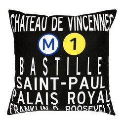 "Uptown Artworks - Paris Metro Pillow - Features: -Material: Natural cotton / linen. -We recommend spot-cleaning or wash in cool water with phosphate-free detergent. -Zipper closure, plush feather and down insert. -Made in the United States. -Eco-friendly. -Overall dimensions: 20"" H x 20"" W, 2 lbs."