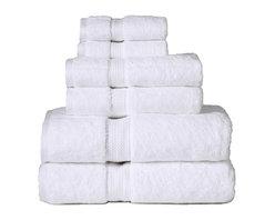 Luxurious Egyptian Cotton 900 Gram 6-Piece White Towel Set - Luxurious 900GSM 6-Piece White Towel Set