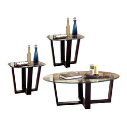 Coaster - Coaster Howard Contemporary 3-Piece Occasional Table Set - Coaster - Coffee Table Sets - 700275 - This stylish three piece occasional table set will help you create a fresh look in your living room. This set includes a coffee table and two end tables. The sleek Black metal bases feature crossing stretchers for a distinctive look with a softly curved beveled glass top resting above each. Place your favorite decorative items on the tables for a bold style that you will love. Add this table set to your living room for an elegant and sophisticated contemporary look. The Howard collection offers a sleek contemporary look for your living room. These elegant occasional tables feature sleek Black metal bases with crossing stretchers for a bold modern style. Beveled glass tops complete the stunning look. Add your own decorative accent items for a warm and inviting living room that everyone can enjoy.