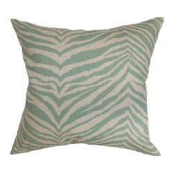 "The Pillow Collection - Cecania Zebra Print Pillow Blue Linen 18"" x 18"" - This accent pillow is a definite stand out wherever you place it. The decor pillow comes with an exciting zebra print in shades of muted blue and linen. You can toss this square pillow in your sofa, bed or anywhere inside your home. This 18"" pillow will spruce up your decor style in an instant. Mix and match this throw pillow with solids and other patterns for an unconventional look. Made of 100% high-quality cotton fabric. Hidden zipper closure for easy cover removal.  Knife edge finish on all four sides.  Reversible pillow with the same fabric on the back side.  Spot cleaning suggested."