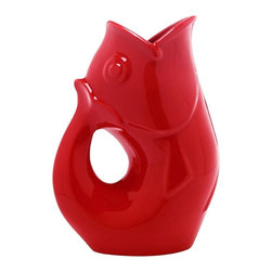 GurglePot - GurglePot Vase, Bright Red - Produces whimsical gurgling sound.