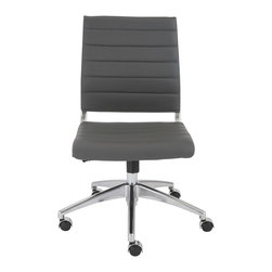 Euro Style - Euro Style Axel Low Back Office Chair without Arms 00595GRY - Interesting how one chair can be 'all-business' and ridiculously comfortable all at the same time. The low, ribbed back has a lot to do with the comfort and the classic office design says this is one classy work environment. Thanks for stopping by. Have a seat.