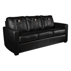 Dreamseat Inc. - Philadelphia Flyers NHL Xcalibur Leather Sofa - Check out this incredible Sofa. It's the ultimate in modern styled home leather furniture, and it's one of the coolest things we've ever seen. This is unbelievably comfortable - once you're in it, you won't want to get up. Features a zip-in-zip-out logo panel embroidered with 70,000 stitches. Converts from a solid color to custom-logo furniture in seconds - perfect for a shared or multi-purpose room. Root for several teams? Simply swap the panels out when the seasons change. This is a true statement piece that is perfect for your Man Cave, Game Room, basement or garage.