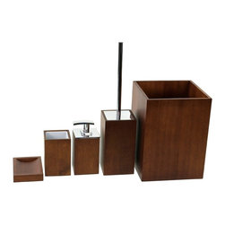 Gedy - Wooden 5 Piece Brown Bathroom Accessory Set, - Trendy brown bathroom accessory set made from wood. Includes soap dish, toothbrush holder, toiletbrush holder, waste basket, and soap dispenser. Manufactured in Italy. Part of the Gedy Cubico Wood collection. Available in brown wood finish. Made from wood. From the Gedy Cubico Wood collection. Designed and built in Italy. Included in set:. Soap dish Gedy PA11-31. Toothbrush holder Gedy PA98-31. Toiletbrush holder Gedy PA33-31. Soap dispenser Gedy PA81-31. Waste basket Gedy PA09-31.