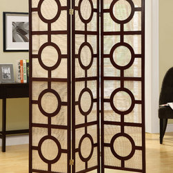 Monarch - Cappuccino Frame 3 Panel Circle Design Folding Screen - At a beautiful touch to your living space with this folding screen. Its elegant cappuccino frame accentuate the circle design and your decor. Place it in your bedroom or living room, as a divider or simple accent piece. It is a definite eye-catcher.