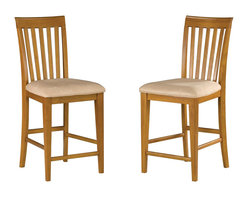 Atlantic Furniture - Atlantic Furniture Mission Pub Chair in Caramel Latte (Set of 2) - Atlantic Furniture - Dining Chairs - AD771207 - The Atlantic Furniture Mission Pub Chairs are constructed from Eco-friendly solid hardwood and have an elegant Caramel Latte wood finish. This set of two pub chairs feature a vertical slat back design and an Oatmeal colored seat cushion. The Mission Pub Chairs are perfect for a casual dining room setting.