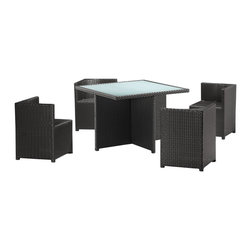 "Zuo - ""Zuo Turtle Beach Table Set, Espresso"" - ""The perfect dining solution for the small deck, the Turtle Beach table set is a smart looking set for space saving and storage; it has four chairs that nest under the table. The frames are constructed from epoxy coated aluminum and the weave from UV treated polypropylene for maximum resistance against the elements. The Table has a 10 mm thick frosted tempered glass top. The chairs are designed with a vector shaped back for versatile support. The glass of the table top is recessed for a clean and smooth serving surface. The best set for enjoying those summer night dinners overlooking the city view.Dimensions (W x L x H): 19.7"""" x 19.7"""" x 26.8""""Seat Height: 16.4""""Seat Depth: 17.7""""Seat Width: 17.7""""Cubic Feet: 31.78Weight: 134.2 lbsMaximum Weight Capacity: 150 lbsProduct Cover: Synthetic WeaveProduct Material: Aluminum FrameAssembly Required: No"""