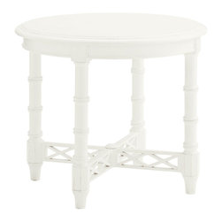 Lexington - Lexington Ivory Key Edgehill Round Lamp Table 543-950 - Design features include the open diamond lattice stretcher and double rings on the legs.