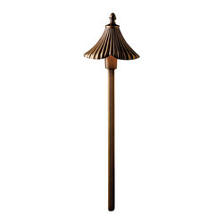 LANDSCAPE - LANDSCAPE Gate House Path Light X-ZO97351 - From the Gate House Garden Collection, this Kichler Lighting path light features a center mounting with ribbed detailing on which a tapered ribbed shade sits. The entire fixture is finished in an Olde Bronze hue for a warm, elegant look.