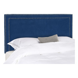 Safavieh - Hermosa Queen Headboard - Sleep in style with the elegant Harmon Headboard in queen size.  Upholstered in lush navy poly suede, this transitional design is punctuated with a mitered double row of silver nail head trim.