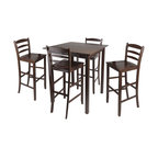Winsome - Winsome Parkland 5 Piece Square Dining Set in Antique Walnut - Winsome - Dinette Sets - 94559 - This simple and functional Square High Table is perfect additional to your home