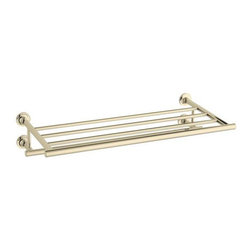 Kohler - Kohler Purist French Gold Hotelier Towel Bar - The Purist hotelier towel bar from Kohler combines simple,architectural form with sensual design lines and careful detailing.