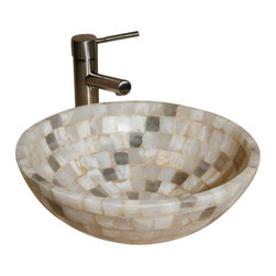 "The Allstone Group - L-VMR-SS-16WL Polished #19 Vessel Sink - Natural stone strikes a balance between beauty and function. Each design is hand-hewn from 100% natural stone.  Allstone mosaic vessel sinks are our only product that is not carved from one single piece of stone.  Onyx was used in Egypt as early as the Second Dynasty to make bowls and other pottery items. Onyx is also mentioned in the Bible at various points, such as in Genesis 2:12 ""and the gold of that land is good: there is bdellium and the onyx stone"", and such as the priests' garments and the foundation of the city of Heaven in Revelation."
