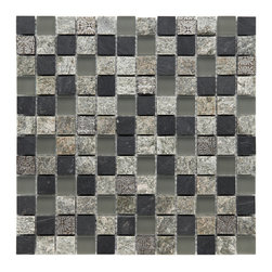 Somertile - Somertile 12x12-in Granstone Fauna 1-in Verde Stone/ Glass Mosaic Tile (Pack of - Give your kitchen or bath a new look with this stone and glass backsplash tile. Great for indoor as well as outdoor use,this mosaic tile features green and gray tones with fine textures and a back mesh for easy and quick installation.