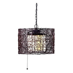 Unbranded - Unbranded Tanglewood 1-Light 16 in.Outdoor Bronze Pendant 93393BRZ - Shop for Lighting & Fans at The Home Depot. Natural looking all-weather rattan entwines itself into a swirling patterned drum encircling a White glass inner shade. This indoor/ outdoor Pendant is perfect for the outdoor lifestyle. It's not hardwired making it easy to move at wanted/needed. The glass dome on the blub makes it good for the outdoors.