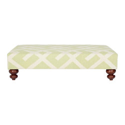 Safavieh - Cross Hatch Dhurrie Ottoman - Light Green/ Ivory - The striking apple green and ivory geometric motif of our Cross Hatch Dhurrie ottoman is equally at home in casual, contemporary and traditional settings. We use beautifully textured wool flatweave dhurrie carpets to artfully upholster this decorator classic with birch wood frame and round bun feet in cherry mahogany finish.