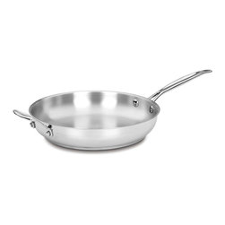 """Cuisinart Chef's Classic 12 """" Fry Pan - The kitchens of France were the inspiration behind the elegant Cuisinart Chef's Classic Stainless Cookware Collection. The Cuisinart Chef's Classic Stainless 12 """" Skillet features stainless steel and pure aluminum encapsulated in the base for fast and even heating. We guarantee it with a limited lifetime warranty.Product Features                                   The sloped sides of the skillet maximize cooking surface. Skillets are designed for browning and tossing small pieces of food  such as mushrooms.            Premium Stainless Advantage mirror finish. Classic looks  professional performance.            Aluminum encapsulated base heats quickly and spreads heat evenly.             Stainless steel cooking surface does not discolor  react with food or alter flavors. Great for classic cooking techniques like slow simmers  rolling boils and reduction of liquids.             Cool Grip Handle  solid stainless steel riveted handle stays cool on the stovetop.            Dishwasher Safe            Premium stainless steel easily cleans to original brilliant finish.            Constructed to Last            Limited Lifetime Warranty"""