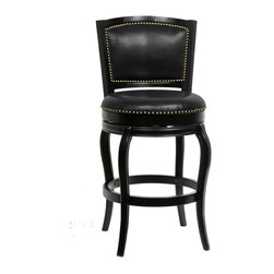 Boraam - 29 in. Harris Memory Swivel Stool - Black - 8 in. Memory Swivel Plate; stool returns to original position . Protective metal kick plate on the top of frontward facing footrest . High density foam seat & backrest cushion. Seat and both sides of backrest have nail head trim. Black bonded leather upholstery . Ready To Assemble construction (RTA): all tools are included making assembly easy as 1, 2, 3! . Genuine brass nail heads applied individually by hand. Oversize seat diameter of 21 in. . 400 pound weight capacity. Seat cushion is approximately 3 in. thick. Standard bar height (29 in. H seat from floor). 44.5 in. W x 24.5 in. D x 24.5 in. H (34 lbs.)Boraam's Harris Memory Swivel Stool made with solid hardwood and engineered with precision construction. Product tested by leading testing facilities recognizable worldwide, this barstool has a maximum weight capacity of 350 pounds. The Harris features a steel memory return-swivel mechanism, bringing your stool to its original position after removing static weight. The high-density foam seat and backrest cushion both upholstered in shiny black bonded leather, and decaled with individual genuine brass nail heads. The footrest built from one solid piece of hardwood, gives you stability in addition to a durable metal kick plate protecting the top of the front-facing footrest from scuffs and scratches. Your eyes are not playing tricks on you; the seat of the Harris barstool indeed oversized with a diameter of 22 inches! At last, you can sit comfortably with support where needed most, your derriere, back, and feet.