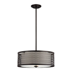 """Designers Fountain - Designers Fountain Continental Drum Shade Pendant Light in Artisan - Shown in picture: Continental 20"""" Pendant in Artisan finish with Ivory glass"""