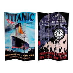 Oriental Furniture - 6 ft. Tall Double Sided Titanic/Penn Station Room Divider - This spectacular screen features pair of beautiful, vintage travel posters from our series of early 20th century art deco/art nouveau designs. The front is a powerful rendering of the flagship of the White Star Line shipping company, advertising the maiden crossing of the Titanic. On the back is a stylized artist's depiction of New York's Penn Station, with the familiar clock and gothic arches. These simple, effective designs will bring a whole new dynamic to your living room, bedroom, dining room, or kitchen. This three panel screen has different images on each side, as shown.