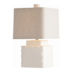 Arteriors - Thorpe Lamp - Symbolizing strength and stability, the square is a form that lends solid presence to your favorite contemporary setting. With this table lamp, the classic shape is represented in a pinched-edge porcelain base and a heather-beige linen shade.