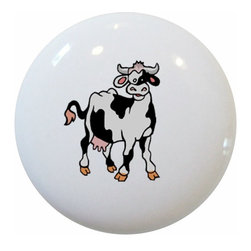 Carolina Hardware and Decor, LLC - Cow Farm Animal Ceramic Knob - 1 1/2 inch white ceramic knob with one inch mounting hardware included.   Great as a cabinet, drawer, or furniture knob.  Adds a nice finishing touch to any room!