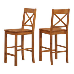 "Walker Edison - Walker Edison 26"" Millwright Barstool in Antique Brown - Walker Edison - Bar Stools - CHWB26AB - These delightful wood dining barstools are an irresistible addition to any dining room or sitting area. The attractive antique brown finish and distressed detailing create a warm countryside feel and the sound construction will last for years to come."