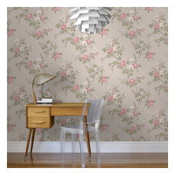Graham & Brown - Cottage Garden Wallpaper - Cottage Garden wallpaper - beautiful climbing roses adorn this amazing floral wallpaper that will look fantastic on any wall.