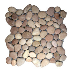 """CNK Tile - Berry Pebble Tile - Each pebble is carefully selected and hand-sorted according to color, size and shape in order to ensure the highest quality pebble tile available.  The stones are attached to a sturdy mesh backing using non-toxic, environmentally safe glue.  Because of the unique pattern in which our tile is created they fit together seamlessly when installed so you can't tell where one tile ends and the next begins!     Usage:    Shower floor, bathroom floor, general flooring, backsplashes, swimming pools, patios, fireplaces and more.  Interior & exterior. Commercial & residential.     Details:    Sheet Backing: Mesh   Sheet Dimensions: 12"""" x 12""""   Pebble size: Approx 3/4"""" to 2 1/2""""   Thickness: Approx 1/2""""   Finish: Natural Berry"""