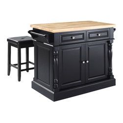 Crosley Furniture - Butcher Block Top Kitchen Island with Square - Includes two stools. Fully functional doors and drawers on both sides. Butcher block top. Two towel bars. Brushed nickel hardware. Carved column accents. Two adjustable shelves behind doors. Stool with black upholstered. Warranty: 90 days. Made from solid hardwood and wood veneers. Made in Vietnam. Black finish. Upholstered square seat stool: 24 in.. Overall: 48.25 in. W x 23 in. D x 36 in. H (155 lbs.). Assembly instructions - Kitchen Island. Assembly instructions - StoolThis kitchen island is designed for longevity. The handsome raised panel doors and drawer fronts provide the ultimate in style to dress up any culinary space. Great for food preparation, the butcher block top is a plus in any kitchen. Deep push-through drawers are great for holding essential items, such as utensils or storage containers. Style, function, and quality make this kitchen island a wise addition to your home.