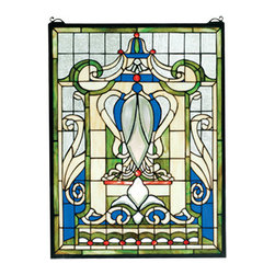 "Meyda Tiffany - 18""W X 24""H Royal Blue Windsor Stained Glass Window - A Clear beveled shield and fleur-de-lis emblazon this regal window of 386 pieces of hand cut Royal Blue, Wheat, Sage Green and Clear stained art glass. Handcrafted utilizing the copper foil construction process, this Tiffany style window also comes with a solid brass hanging chain and brackets."