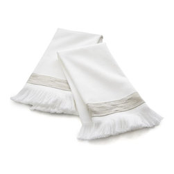 Meredith Guest Towels, Set of 2 - These simple white hand towels get an extra dose of fancy with fringe detail and a band of fabric across the bottom.