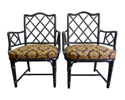 "Consinged Chinese Chippendale Faux-Bamboo Chairs, Pair - Vintage pair of black and gilded faux-bamboo armchairs in their original navy and gold upholstery, with matching pillows. Seat, 17.5""H."