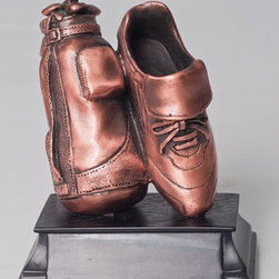 BA - 5 Inch Copper Color Golf Bag and Shoe Figurine Statue - This gorgeous 5 Inch Copper Color Golf Bag and Shoe Figurine Statue has the finest details and highest quality you will find anywhere! 5 Inch Copper Color Golf Bag and Shoe Figurine Statue is truly remarkable.