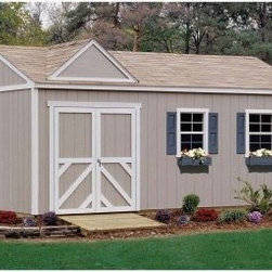 Handy Home Somerset Storage Shed - 10 x 16 ft. - Get back the space in your garage, basement or anywhere else that's slowly been taken over when you bring in the Handy Home Somerset Storage Shed - 10 x 16 ft. Inside the solid wood, gable-styled structure, you'll have plenty of room for your outdoor supplies and off-road vehicles. 6-foot high walls around a central peak measuring in at 8 feet will give you the room you need, and a pre-hung double door with a 64W x 72H-inch opening that can be located on any exterior wall will give you the easy access that you need. The exterior of this building has been pre-primed and is ready for painting when you are. This building can also be purchased with or without a floor depending on your needs. All necessary instructions and hardware are included. 1164 cubic feet of storage space. About Handy HomeSince 1978, Handy Home has been making it easy and affordable for their customers to add storage sheds, gazebos and playhouses to their homes. As North America's largest producer of wooden storage and recreational building kits, Handy Home makes durable structures that require no sawing or drilling and can be delivered when and where their customers need them.