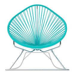 Acapulco Rocker, Chrome Frame With Turquoise Weave - Sit back and relax in this classic woven rocking chair. The iconic pear-shaped seat is perfect for enjoying a backyard setting, but looks equally stylish inside the home. Pick from a rainbow of colors to match your personality or stay cool with classic black and you can't go wrong.