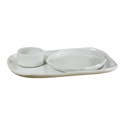 Montes Doggett - Handmade Square Tray/Plate - This handcrafted tray is perfect for serving lunch. Pair with other pieces, as shown, and imagine carrying a bit of salad and a sandwich on your tray out to the veranda for a meal in the sun. (Includes bottom tray only)