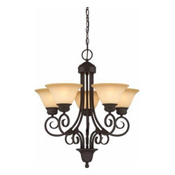Volume Lighting - Volume Lighting V2365 Troy 5 Light 1 Tier Chandelier with Sandstone Glass Shade - Five Light 1 Tier Chandelier with Sandstone Glass Shade from the Troy CollectionAdd a splash of elegance to your home with this 5 light chandelier featuring 1 tier and exuberant sandstone glass.Features:
