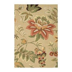 """Nourison - Nourison Fantasy FA11 3'6"""" x 5'6"""" Beige Area Rug 03247 - A lush floral in a stunning palette of salmon, coral, white and green on a cream background lends a subtle sophistication to any area. Hand-hooked, high-density yarns and gorgeous hand carving give this transitional rug incredible sensory appeal."""
