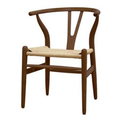 Baxton Studio Wishbone Chair - Dark Brown Wood Y Chair - Traditional and modern style coincide beautifully in the Baxton Studios Wishbone Chair - Dark Brown Wood Chair.The Wishbone Chair features a solid wood frame with natural hemp seat that provides durability. Inspired by mid-century design, the curved backrest is comfortable and gives this chair a modern twist. Use as an accent chair in your living room or as a dining chair.About Baxton StudiosThis item is designed and manufactured by Wholesale Interiors, Inc., a furniture company based near Chicago. A lot goes into the making of furniture, and it all starts with attention to details. They hand select their unique line of leather and micro-fiber fabrics. Their furniture is padded with high polyurethane foam to create the body contouring comfort and support for which Baxton Studios is famous. All frames are constructed of high quality wood or steel on select models, providing sturdy frame construction that exceeds industry standards. Wholesale Interiors, Inc. is committed to constantly providing stylish and unique furniture for the best value to help you create a comfortable living space with ease and confidence.