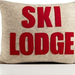 Alexandra Ferguson - Weekend Getaway Ski Lodge Decorative Pillow - State your opinion - and your conviction for saving the earth - with this must-have home accessories collection for the eco-aware. Alexandra Ferguson recycled felt appliqué pillows are standard bearer's of an increasingly rare, one-of-a-kind uniqueness and quality, made in the USA from beginning to end. Features: -Material: 55% Hemp / 45% organic cotton. -All of the felt used is made from 100% recycled plastic PET containers. -Polyfill inserts and zipper closure. -Can be easily spot cleaned.