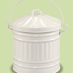 Achla - Compost Pail w Filter in Powder Coated White - Comes with two replaceable carbon odor control pouches. Powder Coated White Enamel finish. 9 in. Dia. x 12 in. H