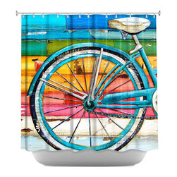 DiaNoche Designs - Life Cycles Shower Curtain - Sewn reinforced holes for shower curtain rings. Shower curtain rings not included. Dye Sublimation printing adheres the ink to the material for long life and durability. Machine washable. Made in USA.