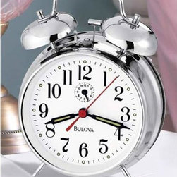 Bulova - Bellman II Bedside Alarm Clock - -Chrome-finish metal case  -Luminous hour and minute hands  -36 hour key wind  -Bell Alarm  -Protective glass lens Bulova - B8127